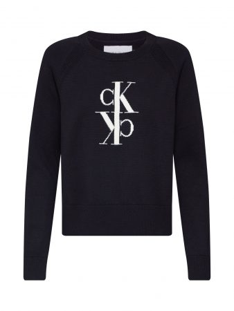 Calvin Klein Jeans Pulover 'MIRRORED MONOGRAM COTTON SWEATER'  negru