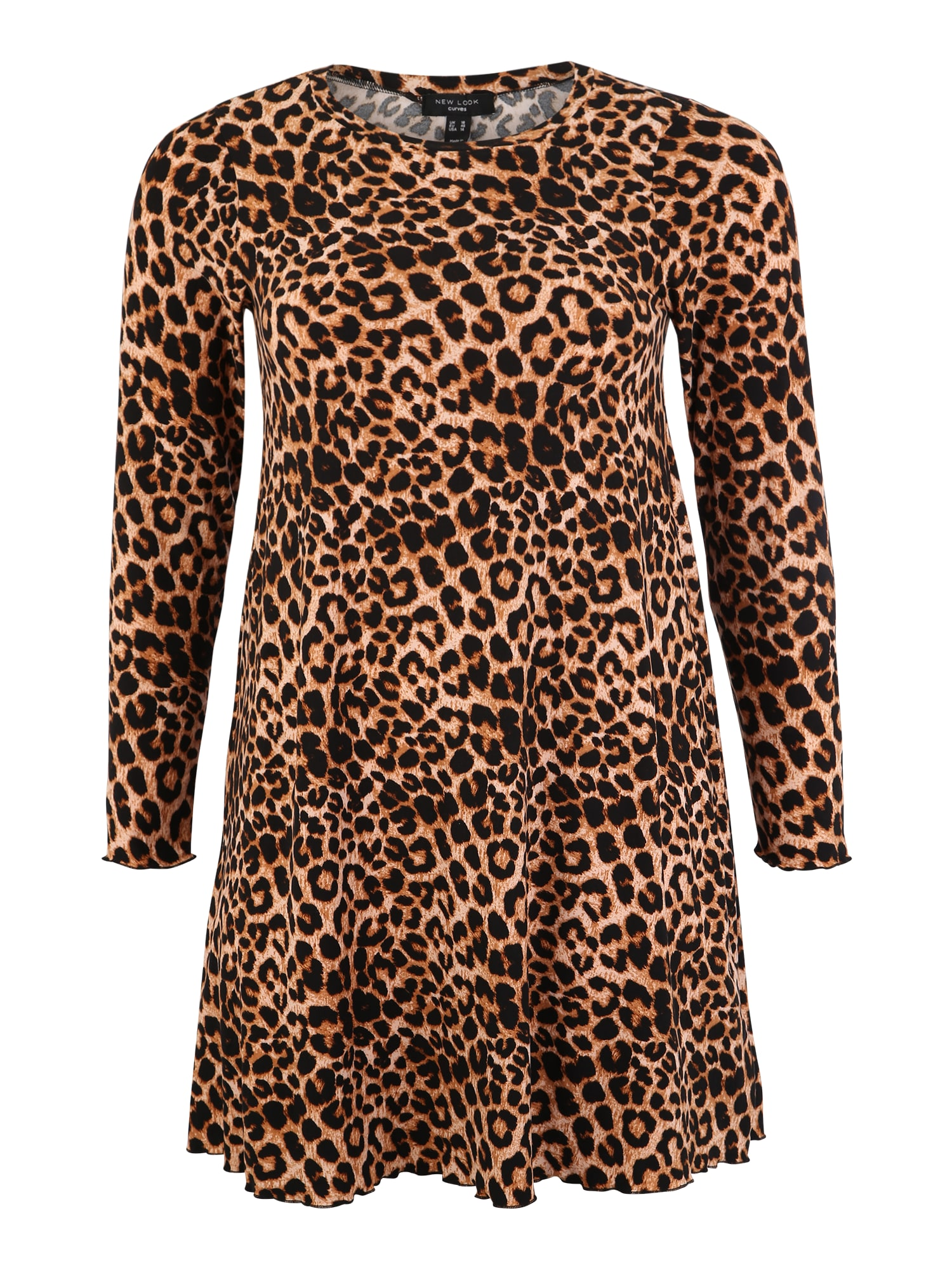 New Look Curves Rochie 'Leopard Soft Touch' maro / galben