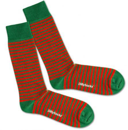 DillySocks Șosete 'Green Liner'  verde / roșu