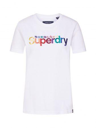 Superdry Tricou 'CLASSIC RAINBOW EMB ENTRY TEE'  alb