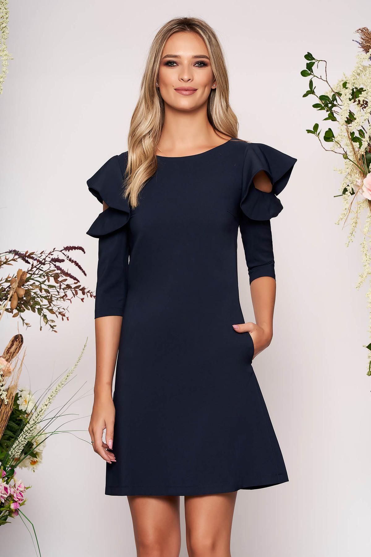 Rochie LaDonna albastru-inchis eleganta de zi din stofa usor elastica cu croi in a si volanase la maneca