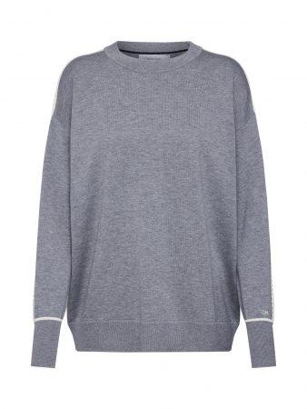 Calvin Klein Pulover 'COTTON SILK CONTRAST STRIPE SWTR'  gri