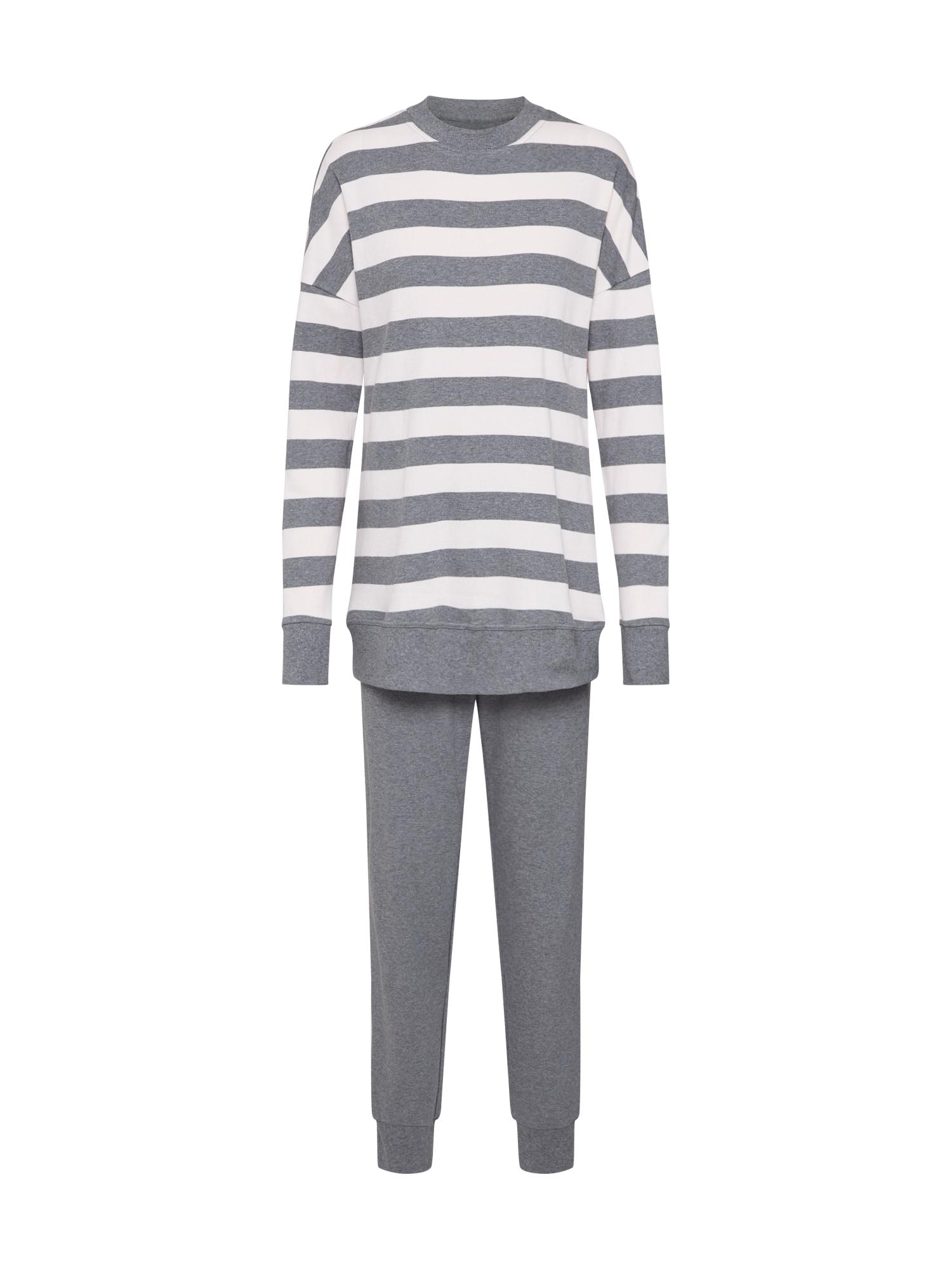 SCHIESSER Pijama gri închis / alb
