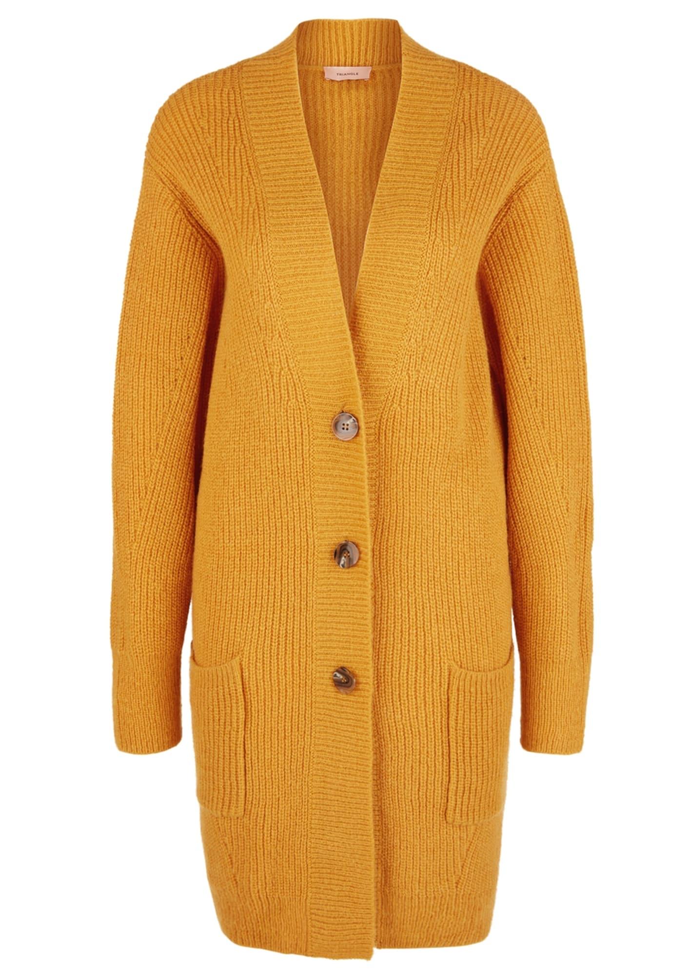 TRIANGLE Geacă tricotată galben auriu