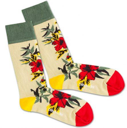 DillySocks Șosete 'Dry Flower'  bej / galben / verde / roșu