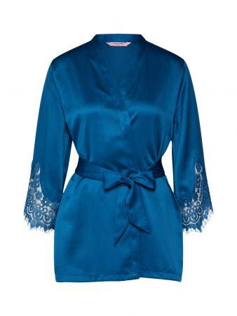 Hunkemöller Halat pentru dimineață 'Kimono Satin Big Scallop Indra'  albastru