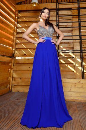 Rochie lunga albastra cu broderie la bust Rn 2344