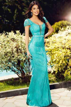Rochie lunga dantela turquoise Rn 1823