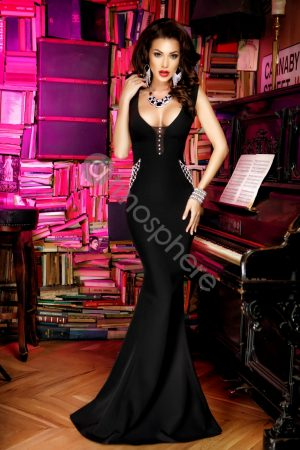 Rochie lunga neagra cu cristale Rn 945