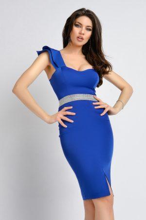 Rochie trei sferturi eleganta albastra Rn 2329